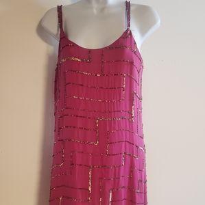 Size S Parker Gold Sequin Spagetti Strap Dress